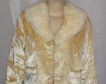 SUMMER SALE Vintage Rabbit Fur Collar Jacket BOHO Small