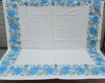 """vintage tablecloth, Cacharel, blue morning glory, 50"""" x 52"""", vintage table linens"""
