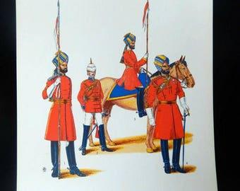 antique military ephemera, Viceroy's Body-Guard, India, British Raj, c. 1920 lithograph, militaria