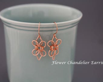 Wire wrapping tutorial chandelier flower earrings, wire wrap earrings Instant download, wire jewelry tutorial, earrings tutorial