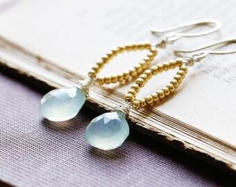 Aqua Drop Earrings | Chalcedony Earrings | Sterling Silver | Dangle Earrings | Silver Gold Earrings | Pale Blue Earrings | Boho Earrings