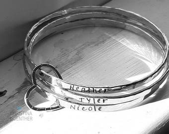 All In My Heart Bangles, One Two Three Bangle Sets - Names Mantra Bangle - Personalized Sterling Silver Love Heart - Christina Guenther