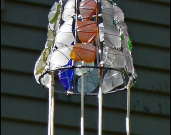 Sea Glass  Suncatcher/Wind Chimes/Garden Ornament with a Variety of Sea Glass Colors