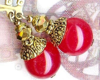 Earrings ❀ balls AGATE 12mm Rose Red OR661 ❀