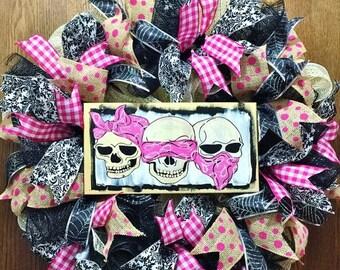 SALE & FREE SHIPPING Skulls Pink Hear No Evil, See No Evil, Speak No Evil - Welcome Door Wreath