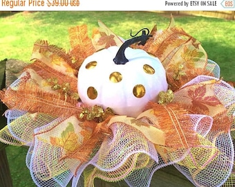 SALE & FREE SHIPPING White Gold Pumpkin - Fall Thanksgiving Centerpiece
