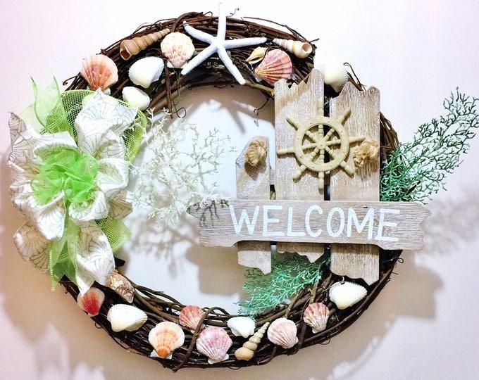 FREE SHIPPING Shells Sailing Wheel Starfish Sea Weed Beach Sea - Welcome Door Grapevine Wreath