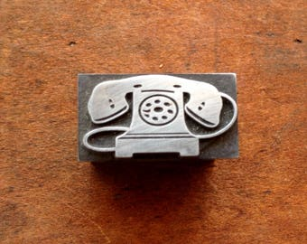 Antique all Metal PRINTERS BLOCK - telephone