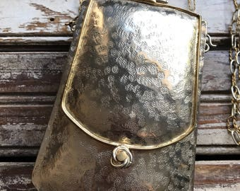 Intage Metal Designer Evening Bag Long Chain Crossbody