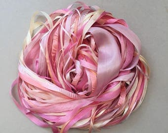 Silk Ribbon Remnants - Pink, Peach and Cream