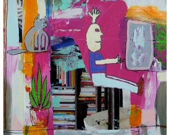 Collage, Mixed Media, Original, Outsider, Children's