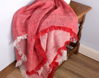 Red Linen Shawl Scarf/ Red Oversized Scarf Wrap/ Flax Linen Blanket Scarf/ Pure Linen Square Scarf wt Fringes/ Red and White/ Christmas Gift