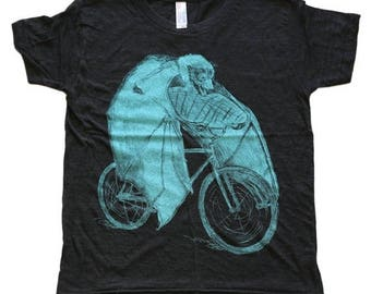 SUMMER SALE Bat on a Bicycle- Kids T Shirt, Children's Tee, Tri Blend Tee, Handmade graphic tee, sizes 8 10 and 12