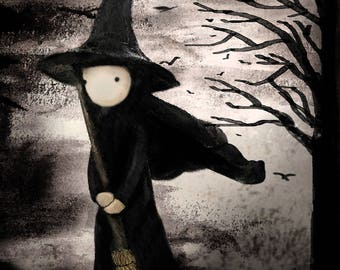 The Lonely Little Witch - Numbered Limited Edition of 250 on Watercolor Paper