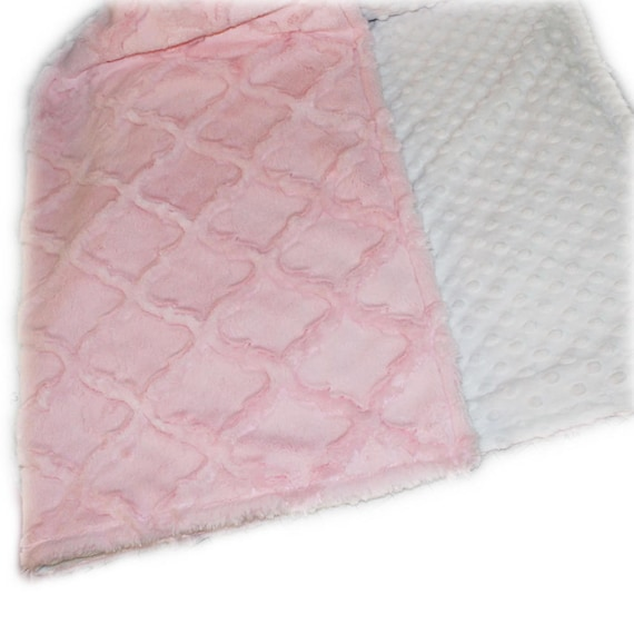 Personalized Baby Blanket, Minky Baby Blanket, Pink White Lattice, Stroller Blanket, Girl Baby Blanket, Name Blanket, Pink Blanket, kids