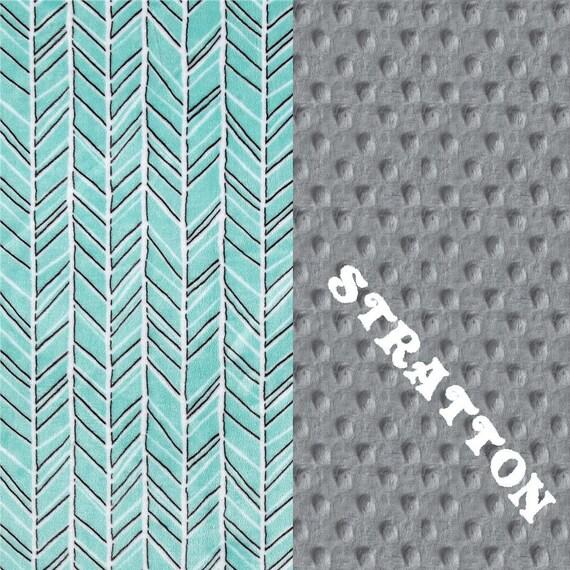 Adult Minky Blanket,  Personalized Blanket, Gray Aqua Herringbone Blanket, Twin Blanket, Minky Throw Blanket, Blue Minky Blanket, Gift idea