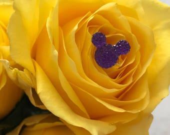Disney Wedding FREE SHIP 6 Hidden Mickeys Corsage Purple Mouse  Bouquets  Floral Pins Flower Picks