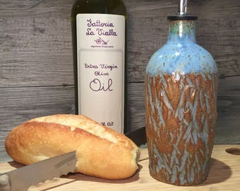 Ceramic Olive Oil bottle-  Carved bottle with a weathered blue glaze with food grade spout  -  Ready to Ship