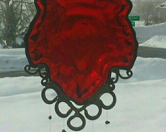 Ruby Leaf - Depression Glass Candy Dish Wind Chime