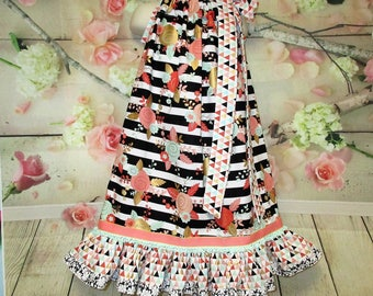 Girls Dress 6/7 Black White Stripe Coral, Aqua, Metallic Gold Flower Pillowcase Dress, Pillow Case Dress, Sundress