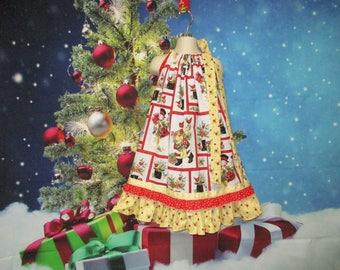 Girls Christmas Dress 5/6 Red White Santa's Snowmen Pillowcase Dress, Pillow Case Dress, Sundress, Boutique Dress