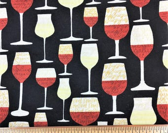 BTY - Wine Glass 100% Cotton Timeless Treasures Fabric