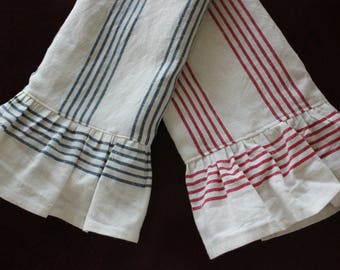 Ruffled Linen and Cotton Tea Towel - Blue or Red Stripes