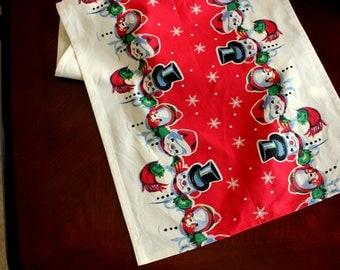 Christmas Table Runner - Retro Snowman Print