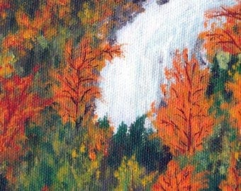 Fall Autumn Original Painting 4x5 Waterfall Trees and Bushes Mixed Media Acrylic and Ink Art Red Orange Green Yellow Stretched Canvas OOAK