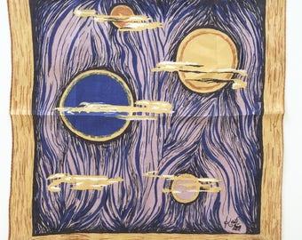 Vintage Handkerchief Kati Designer Night Moons Planets Novelty Hankie