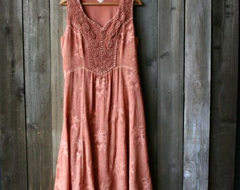 Lacy Midi Dress Hippie Sleeveless 90s Size M Vintage From Nowvintage on Etsy