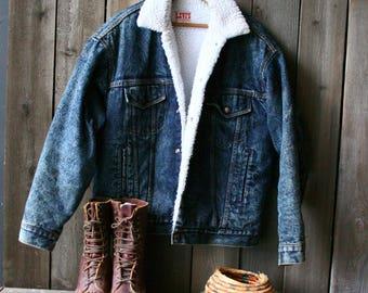 Vintage Levi Jacket 80s Acid Wash Jeans Jacket Denim Coat With Faux Shearling 1980s Vintage From Nowvintage on Etsy