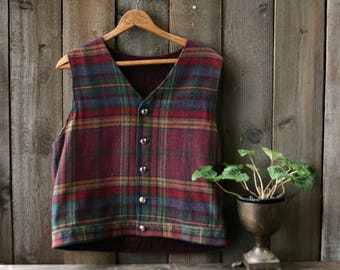 Vest Plaid Wool Reversable Wool and Cotton Corduroy Womens Size M From Nowvintage on Etsy