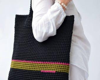Large Tote bag, Crochet Tote Bag, Boho Bag, Striped Black and Green Bag, Women Accessory, Crochet Shoulder bag, Handmade tote bag gift mom
