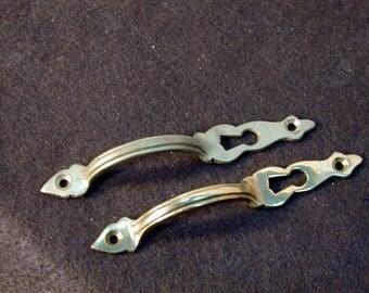 Pair of  Brass Door Handles with Keyhole
