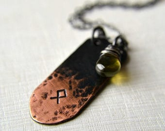 ON SALE Rune necklace, norse rune necklace, copper charm and gemstone necklace - Rune necklace