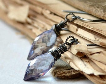 ON SALE Wire wrapped gemstone earrings, sterling silver and mystic quartz earrings, romantic  - Sentimental in lavender