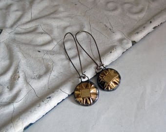 Gold Glass Button  Earrings  Recycled Jewelry