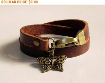Leather Bracelet Women Bracelet Leather Cuff Bracelet Leather Charm bracelet in Brown Color with Metal Butterfly Charm