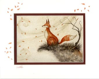 Hand Accented autumn fox 5x7 matted 8x10 by Amy Brown