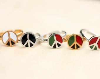 Enamel Peace Ring, Peace Ring, Vintage Peace Ring, Gold Peace Ring Silver Peace Ring