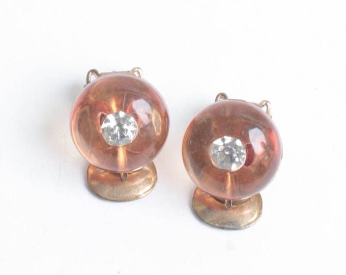 Apple Juice Lucite Earrings Rhinestones Shoe Button Style Clip On Style Vintage