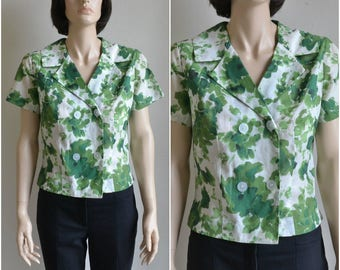 50s Vintage Cotton Blouse Double Breasted Green Watercolor Floral - medium to large