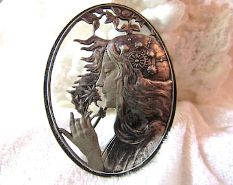 Beautiful Art Nouveau Repousse Goddess Vintage Sterling Silver Brooch  Mythical Goddess  Brooch