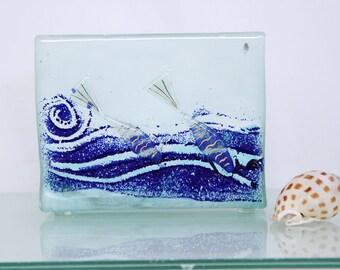 Napkin holder ocean blue fish  Fused glass art .