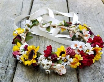 Summer sunflower bridal halo burgundy marsala Wedding flower crown Hair Wreath Bridal party garland yellow autumn music festivals