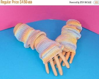 40% OFF SALE Digital pdf file Knitting pattern -  Self Striping Fingerless Slouch Gloves knitting pattern