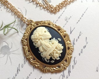 Forever Love Skeleton Bride And Brass Pendant Necklace