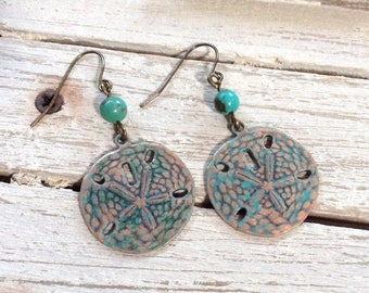 Sand Dollar Patina Copper And Turquoise Earrings