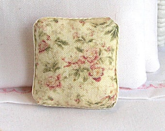 1:12 Pillow - Shabby Dusty Vintage Floral - Handmade Dollhouse Scale Miniature - Shabby Cottage Chic *Free Shipping*